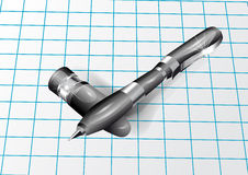 Pen on a checkered paper Royalty Free Stock Photography