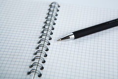 Pen on the checkered paper notebook Royalty Free Stock Photo