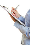 Pen checking mark on clipboard Royalty Free Stock Image