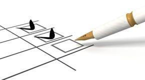 Pen and Checklist Stock Photos