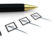 Pen and Checklist Royalty Free Stock Photos