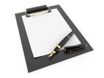 Pen on clipboard. Empty sheet of paper Stock Photo