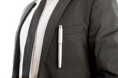 Pen Clipped on Suit Pocket of a Businessman Stock Photos