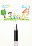Pen close-up with a drawing of a family Royalty Free Stock Photos