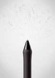 Pen close-up with sketchy arrows. And lines Royalty Free Stock Photos