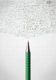Pen close-up with sketchy. Diagrams Stock Images