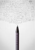 Pen close-up with sketchy diagrams. Pencil close-up with sketchy diagrams Stock Image