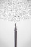 Pen close-up with sketchy diagrams. Pencil close-up with sketchy diagrams Royalty Free Stock Image