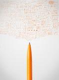Pen close-up with sketchy diagrams. Pencil close-up with sketchy diagrams Royalty Free Stock Photos