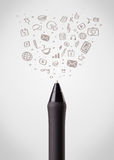 Pen close-up with social media icons Royalty Free Stock Image