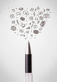 Pen close-up with social media icons Stock Photography