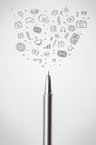 Pen close-up with social media icons Stock Images
