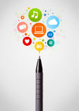 Pen close-up with social network icons Stock Photography