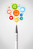 Pen close-up with social network icons Stock Image
