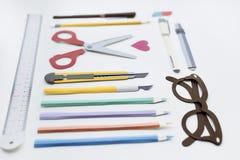 Pen Color Pencil Scissor Eraser Ruler Eyeglasses Concept.  Stock Photo
