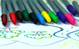 Pen colors. The bright colors of pen drawing Royalty Free Stock Image