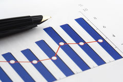 Pen on Column Graph stock image