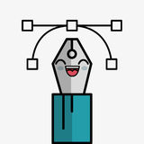 Pen comic character icon Royalty Free Stock Photography