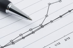 Pen on the compare graph. Close up shot of pen on the compare graph royalty free stock photography