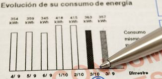 Pen and consumption statistics Royalty Free Stock Photo