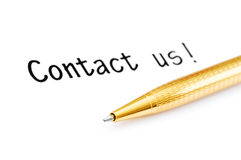 Pen and contact us message Royalty Free Stock Photo