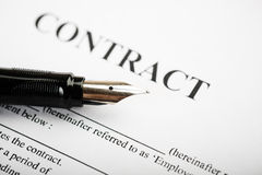 Pen on contract. Royalty Free Stock Image