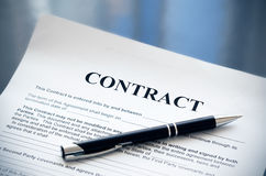 Pen on contract papers Royalty Free Stock Image