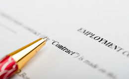 Pen on contract papers Royalty Free Stock Photos