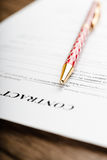 Pen on the contract papers Stock Photo