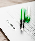 Pen and contract papers Stock Photography