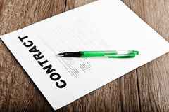 Pen and contract papers Royalty Free Stock Photo