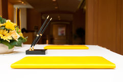 Pen and contract setting on table Stock Photo