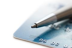 Pen and credit card. On a white Stock Photo