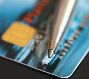 Pen and credit card. Close up pen and credit card Royalty Free Stock Photos