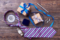 Pen, cufflinks and watch. Royalty Free Stock Photos