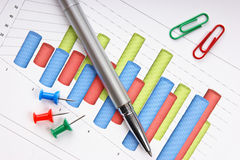 Pen and  diagram Stock Photos