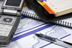 The pen and diagrams stock photo