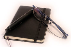 Pen, Diary and Glasses royalty free stock photos