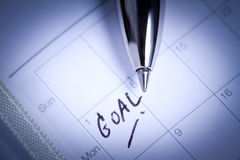 Pen on diary with GOAL letter Royalty Free Stock Photos
