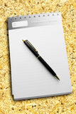 Pen on a diary with striped paper Royalty Free Stock Images
