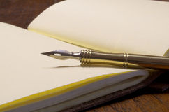 A pen and a diary. Vintage pen over an old classic paper diary Royalty Free Stock Photo