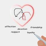 Pen die hart van paar in liefde trekt Royalty-vrije Stock Afbeeldingen