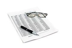 Pen document. Glasses white paper stock image