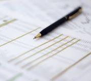 Pen on document Stock Image