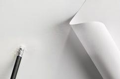 Pen, document en rubber royalty-vrije stock afbeeldingen