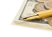 Pen on dollar money banknotes Royalty Free Stock Image