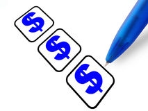 Pen dollar signs. A pen with dollar signs, white background stock photo