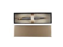 Pen in doos hoogste mening van witte achtergrond Royalty-vrije Stock Fotografie