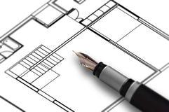 Pen Draw Plan lizenzfreie stockfotos