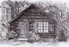 Pen drawing: cabin / house surrounded by trees and shrubs. Cabin in the wood. Illustration Stock Photo